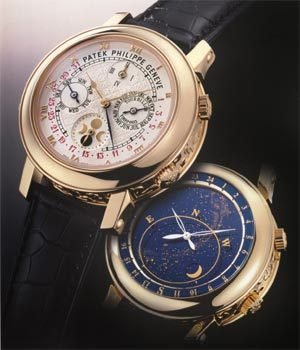 """Patek Philippe_333312_0"""" /></p> <p><strong>A minute repeater heralds the third millennium</strong><br /><br />The acoustic indication of hours, quarter-hours, and minutes is and undoubtedly remains one of the most spectacular functions that a wristwatch can possess. When the slide on the left of the case is activated, the repeater first strikes the number of hours on a low-tone gong, followed by the quarter-hours with double strikes on the low-tone and a higher-tone gong, and finally by the number of minutes which have elapsed since the last quarter-hour on the higher-tone gong. In the """"Sky Moon Tourbillon"""", this chime is implemented in a rare and fascinating manner. In the comparatively small volume of a wristwatch, it is extremely difficult to generate a clear and rich-sounding tone. A few years ago, after intensive collaboration with metallurgists of the Swiss Federal Institute of Technology in Lausanne, Patek Philippe succeeded in developing an alloy for gongs that create a particularly resonant sound. In the meantime, this alloy has been refined, making it possible to produce a special gong that can be more than one case circumference long. It is called """"cathedral gong"""" because it renders the hour strike with a rich, full-bodied tone that like the bells in a cathedral reverberates for a particularly long period of time.</p> <p></p> <p><strong>The tourbillon defies gravity</strong></p> <p>Every mechanical watch with a balance wheel has a so-called positional error when held vertically, because the centre of gravity of the balance spring is then outside of its axis of rotation. This error can be compensated with a tourbillon, a rotating carriage which incorporates the escapement, balance wheel, and balance spring, and as a rule turns about its own axis once per minute. Due to this rotary motion, the centre of gravity of the balance spring also rotates about the balance axis once per minute and thus automatically compensates the positional error. In the Ref. 5002,"""