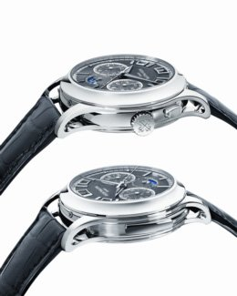 """Patek Philippe_330206_4"""" /></p> <p></p> <p><br /><strong>Classic understatement</strong><br /><br />Elegance and sleek understatement are pivotal hallmarks of Patek Philippe Grand Complication watches. They unite aesthetic design and elaborately engineered mechanisms in a harmonious whole. Legibility is another important criterion; after all, a Patek Philippe watch is always and primarily a timekeeping instrument. Accordingly, it was a considerable challenge to clearly arrange the 12 indications on the charcoal-colored solid-gold sunburst dial with a diameter of less than 40 mm. It shows hours, minutes, and seconds of standard time with a day/night indication; elapsed seconds, minutes, and hours of stopped times; the day, date, month, and year of the perpetual calendar; and not least the moon phases. The architectural result is so convincing that the new Triple Complication Ref. 5208 might at first sight be confused with one of Patek Philippe's popular Annual Calendars which display the calendar information in three apertures, including a particularly prominent date aperture, at the top of the dial. But the slide in the left-hand side of the case, the monopusher at 2 o'clock, and the two subdials immediately show that more than a perpetual calendar is involved here. And owners who are patient enough to wait until midnight can expect a rare extravaganza, especially on New Year's Eve. That is when, at midnight, the day, date, month, and year displays instantaneously and simultaneously advance to indicate the next following day, date, month, and year. People who know that movement wheels generally rotate continuously and at a rather leisurely pace can appreciate the fact that this instantaneous change of calendar displays is hardly achievable without an unusually elaborate ensemble of parts.<br /><br />And all these parts are accommodated in a case made of 950 platinum which in itself is unusual. It is not a conventional design with lugs that are integral to the caseba"""