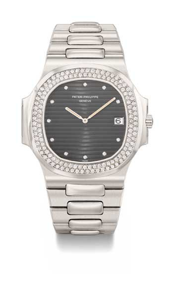 Patek Philippe Nautilus in platinum with diamond-set bezel