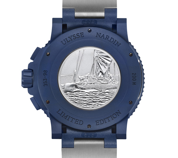 A medallion on the case-back illustrates the catamaran in racing