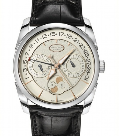 "Parmigiani_331530_1"" /></p> <p> </p> <p>Manufactured in Fleurier, in the Parmigiani Fleurier dial production unit, the face of the Tonda Annual Calendar can be either silver or charcoal grey and features a delicate grained decoration or a barley grain in the centre and a black or silvered opaline ring. The case is available in rose gold or white gold and is also manufactured at Parmigiani. This new exceptional timepiece is then finished with a Hermès alligator strap.</p> <p> </p> <p><em>Technical specifications - Tonda Annual Calendar</em></p> <p><em>Model: Tonda Retrograde Annual Calendar</em></p> <p><em>Movement: PF 339, self-winding Retrograde Annual Calendar (one correction per year in February, except for leap years).</em></p> <p><em>Functions: <br /></em></p> <p>Hour, minute, seconds </p> <p>Date </p> <p>Day </p> <p>Month</p> <p>Precision moon phase (one correction every 120 years).</p> <p><em>Exterior:<br /></em></p> <p>3-part round case: ∅ 40 mm. Thickness: 11.2 mm. </p> <p>Material: 150 PD white gold or 18 ct rose gold. Polished finish. </p> <p>Water resistance: 30 m. Anti-reflective sapphire crystal. </p> <p>Crown: Ø 6 mm. </p> <p>Case-back with sapphire crystal. </p> <p>Individual number engraved on the case-back.</p> <p><em>Dials: <br /></em></p> <p>2 variants: ""Yellow silvered graining"" and ""Black barley grain"