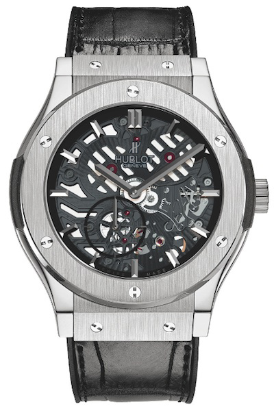 "Hublot_332013_0"" /></p> <p> </p> <p>With a 45 mm diameter, this watch is equipped with a new movement just 2.90 mm thick, developed by Hublot. It comes in a fully skeleton worked version, made to a resolutely graphic design, which enables expert eyes to admire the watch's regulating part, the balance and the escapement... The dial side features the small seconds at 7 o'clock and the hands that match the design of the very first Hublot watches, as a nice nod to the brand's history. With a 90-hour power reserve and 50-metre water resistance, this piece is available in two versions, one in titanium, limited to 1000 pieces, and the other in 18K King Gold, with just 500 pieces.</p> <p>Exhibiting a marvellous balance between the classic extra-thin look, a symbol of watchmaking art, and Hubot's trademark dynamic and modern design, this piece is a fine exercise in style, providing a wonderful demonstration of the principle of fusion between Tradition and Modernity.</p> <p> </p> <p><strong><em>Technical specifications - Classic Fusion extra-thin skeleton</em></strong></p> <p><em>References: <br />515.NX.0170.LR - Titanium, 1000-piece limited series <br />515.OX.0180.LR - 18K King Gold, 500-piece limited series</em></p> <p><em>Case:<br />""Classic Fusion"