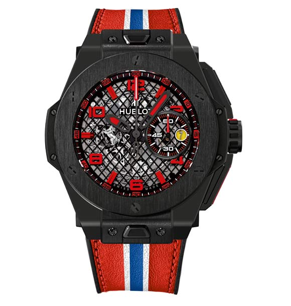"Hublot-Big-Bang-Ferrari-Noire "" /></p> <p>The dial features an appliqué of the iconic prancing horse at 9 o'clock, while the minute counter and date window appear at 3 o'clock in the colours of the Ferrari shield. The predominant colour on the strap also reflects the aesthetic of the dial, with indices and hands featuring a rhodium-plated finish for the grey ceramic and red varnish for the black ceramic.<br /> Recalling the distinctive codes of the five-spoke Ferrari wheels, the oscillating weight is visible beneath the transparent sapphire case-back.</p> <p>The elongated push-buttons, in titanium and rubber, are fixed to a rotating staff like the pedals of a car. The red or grey leather strap features ""striping"" reminiscent of that found on racing cars. It is equipped with the innovative ""One click"
