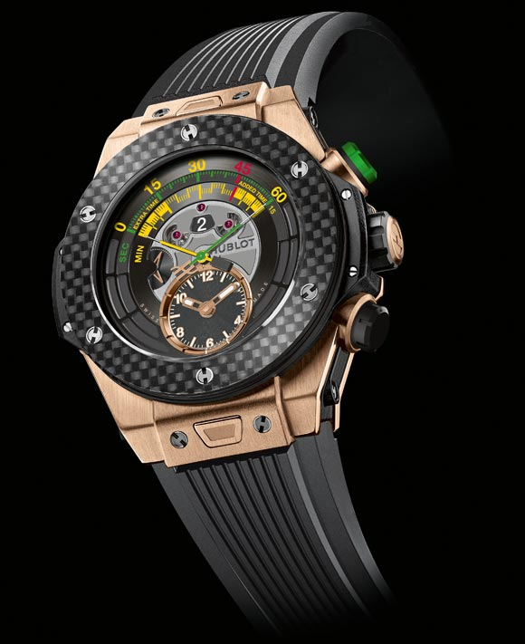 "Hublot-Big-Bang-Unico-Chrono-Bi-Retrograde "" /></p> <p> </p> <p>The design of the piece features a ""Big Bang Unico"" 45.5 mm case. The bezel is secured by the famous 6 H-shaped screws, designed in relief to allow alternating polished and matt finishes. The screw-down crown with overmoulded rubber is also decorated on the end with the famous ""H"" from the Hublot screw, with its two push-buttons positioned at 2 o'clock and 4 o'clock.</p> <p>The sharp angles and intelligent sandwich system have been retained in the case design, but the strap attachment in particular has been optimised: it features the now famous ""One click"" system which allows the wearer to switch between a wide choice of straps – each watch is supplied with a structured and ribbed natural rubber strap which perfectly matches the endpieces of the middle. Water resistant to 100 metres.</p> <p>Although its official name is the ""Hublot Big Bang Official Watch of the 2014 FIFA World Cup Brazil™"", it has already earned the name ""Soccer Bang"