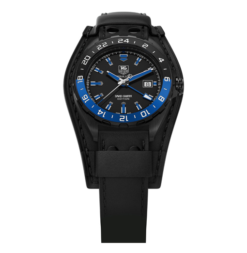 "TAG Heuer - Formula 1 David Guetta"" /></p> <p>The dial, which is black with blue hands and appliques, also extends the ""day/night"